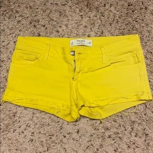 Low Rise Yellow Shorts